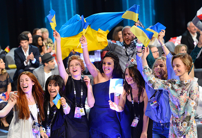 "Jamala representing Ukraine with the song ""1944"" reacts after winning the final of the Eurovision Song Contest 2016 Grand Final in Stockholm, on May 14, 2016. / AFP / JONATHAN NACKSTRAND (Photo credit should read JONATHAN NACKSTRAND/AFP/Getty Images)"