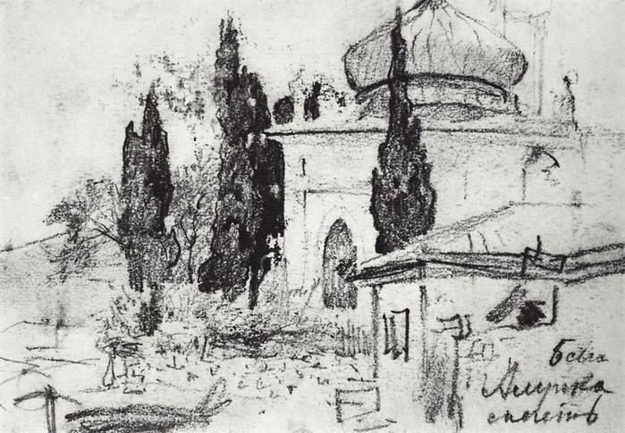 левитан.кипарисы у мечети