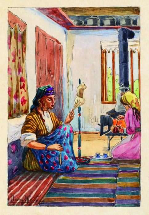 татарская женщина с пряжей