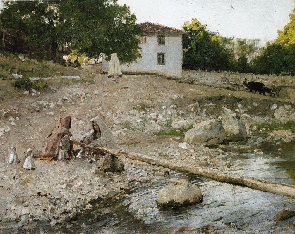 татары у реки.серов