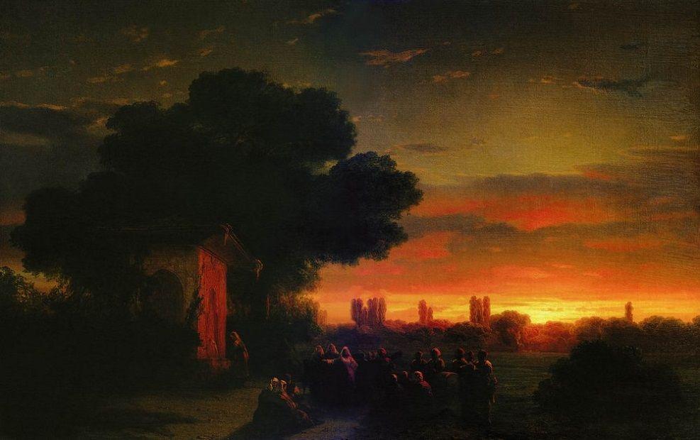 """""""Вид в Крыму при закате солнца"""". 1861 г."""