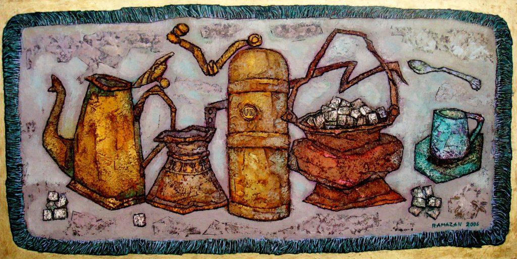 Кофейнный натюрморт. раз. 60х110. х.м. 2008г.