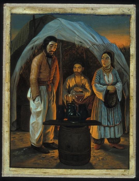 Крымские цыгане в лавке, торгующей напитками. Картина Вильгельма Кизеветтера. 1845-1847 годы