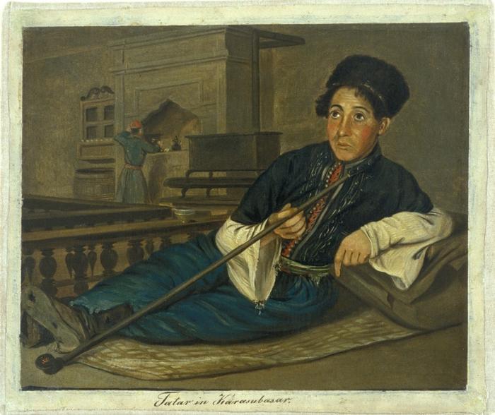 Татарин в кофейне в Карасубазаре. Картина Вильгельма Кизеветтера. 1845-1847 годы.