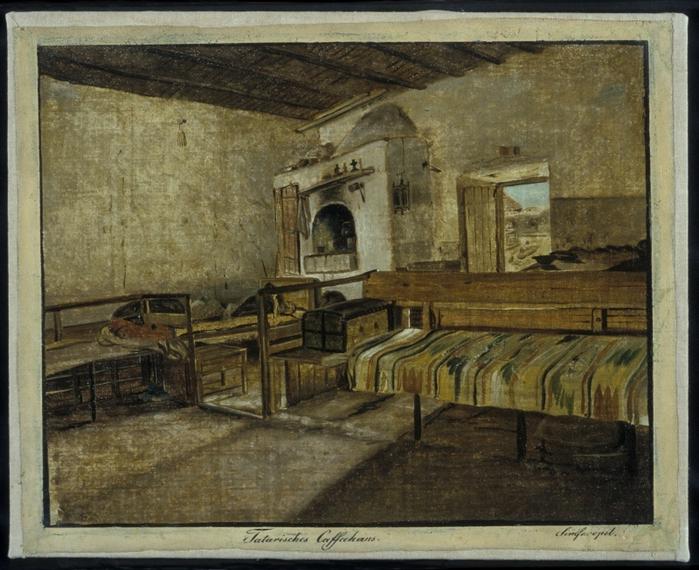 Внутренний интерьер татарской кофейни в Симферополе. Картина Вильгельма Кизеветтера. 1845-1847 годы