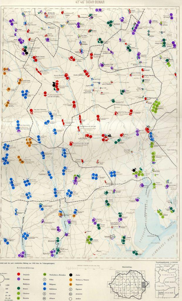 Карта расселения в Татарбунарах в XIX веке. Желтым помечены крымские татары