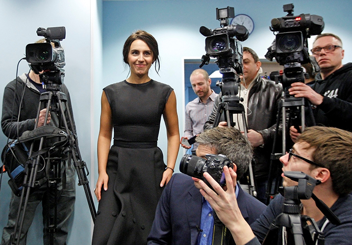 """KIEV, UKRAINE - FEBRUARY 26: The winner of the Ukrainian national selection for the """"Eurovision 2016"""" Crimean Tatar singer Susana Jamaladynova known as Jamala during a press-conference, in Kiev, Ukraine, on February 26, 2016. Jamala will to represent Ukraine on Eurovision with a song recalling a horrible tragedy of her Crimean Tatar people, who went through the forcible deportation ordered by Soviet dictator Joseph Stalin.  (Photo by Vladimir Shtanko/Anadolu Agency/Getty Images)"""