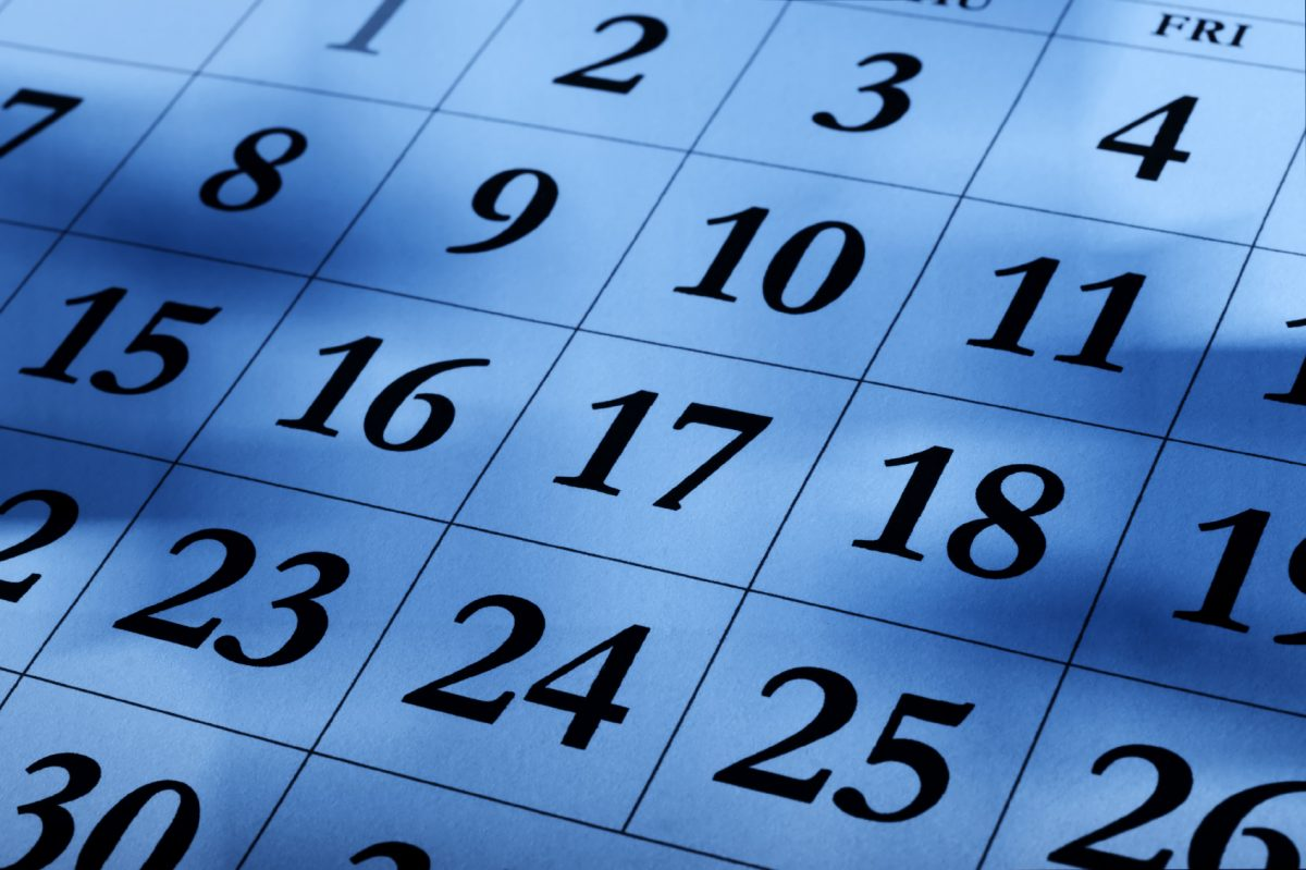 Calendar page blue