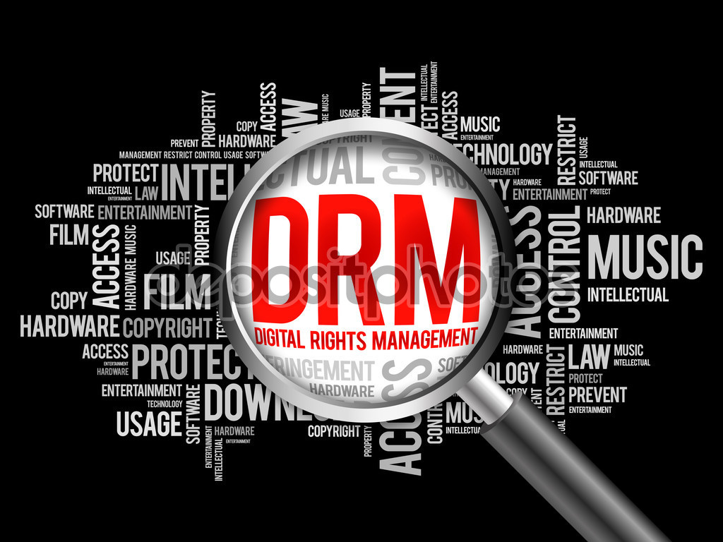 DRM - Digital Rights Management word cloud with magnifying glass, business concept 3D illustration