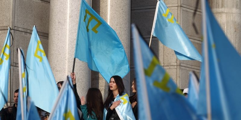Crimean Tatars hold an action on Independence Square in Kyiv to commemorate victims of the deportation of 1944.