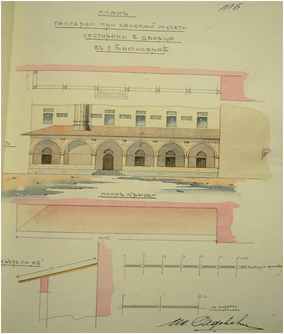 План галереи Большой ханской мечети, 1912 г. Из архива ГАРК.